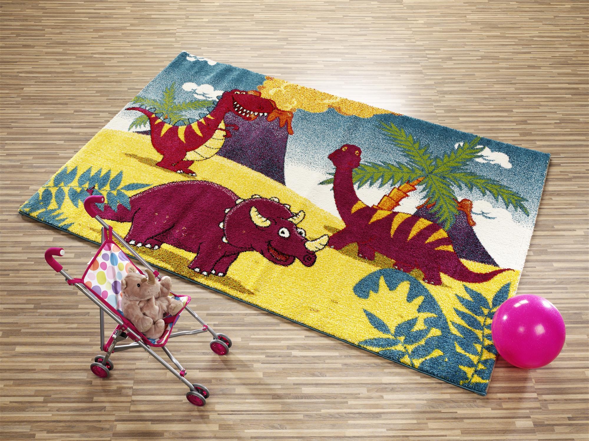 Rumtober Dino Kinder Teppich Bunt öko Tex
